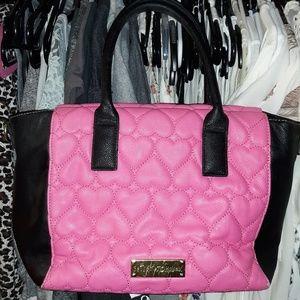 Pink and Black Betsey Johnson Purse Handbag Hearts